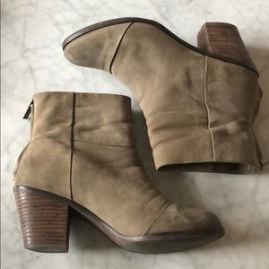 Light brown suede ankle booties